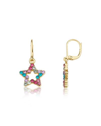 Girls' Open Star Dangle Earrings (Hypoallergenic)