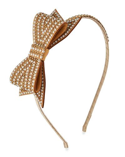Girl's Pearl Beaded Headband w/ Crystal Trim