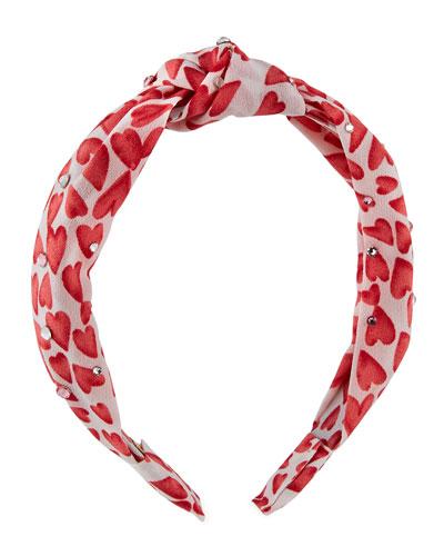 Girl's Heart Knot Headband w/ Swarovski Crystals