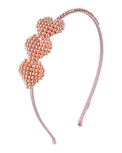 Girl's 3 Beaded Pearly Heart Headband
