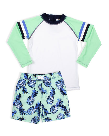 Image 1 of 1: Boy's Stripe Rash Guard with Pineapple Trunks, Size 2-6