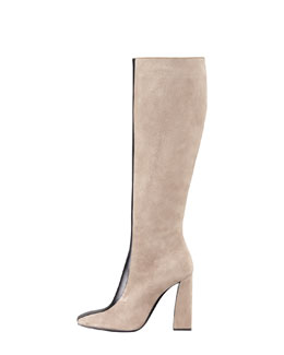 Giorgio Armani Mixed-Media Stripe Tall Boot