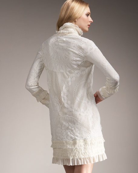 Lace Ruffle Cardigan, Cream