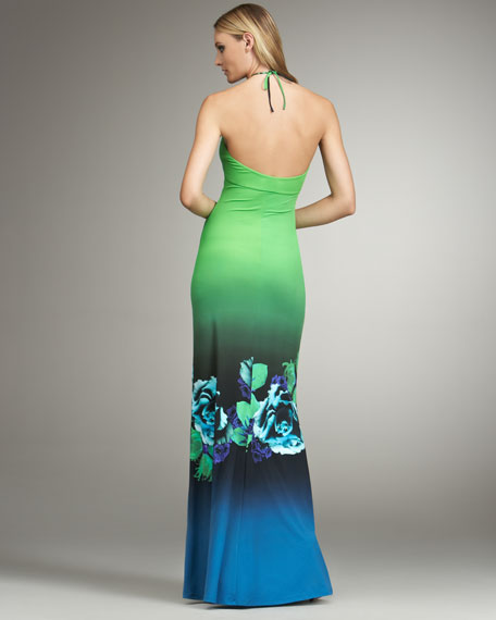 Floral-Print Halter Gown