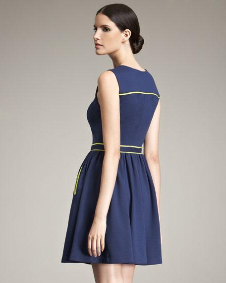 Techno Jersey Dress With Contrast Trim