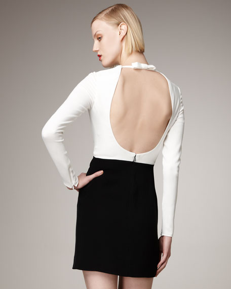 Long-Sleeve Open-Back Dress