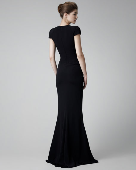 Fitted Cap-Sleeve Gown, Black