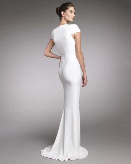 Fitted Cap-Sleeve Gown, Natural