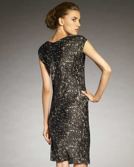 Sequin-Print Cowl-Neck Dress