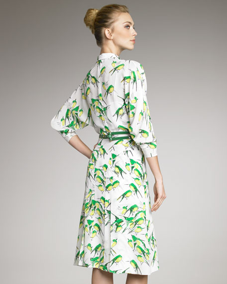 Sparrow-Print Belted Shirtdress