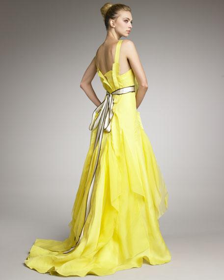 Satin Contrast-Waist Gown