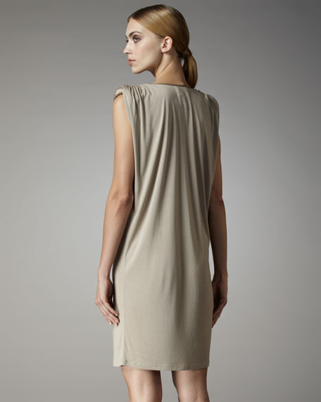 Ruched-Shoulder Jersey Dress