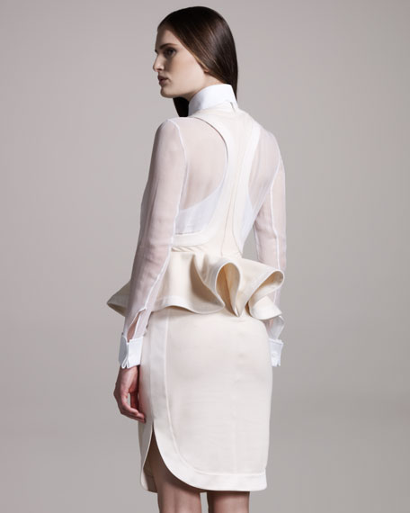 Halter-Neck Peplum Dress