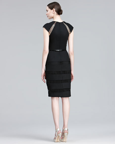 Stripe-Embroidered Sheath Dress