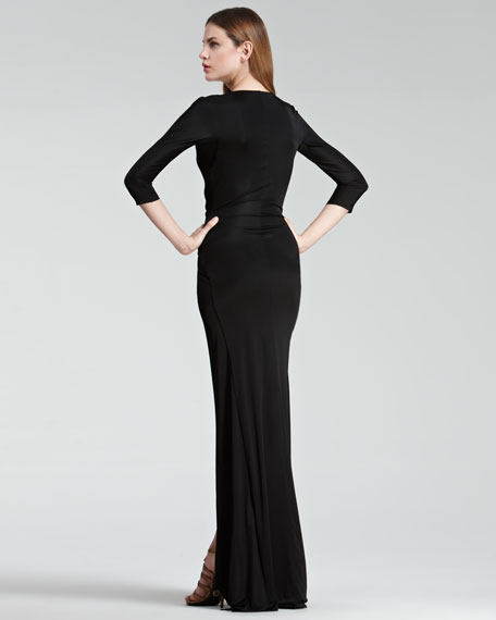Faux-Wrap Gown, Black