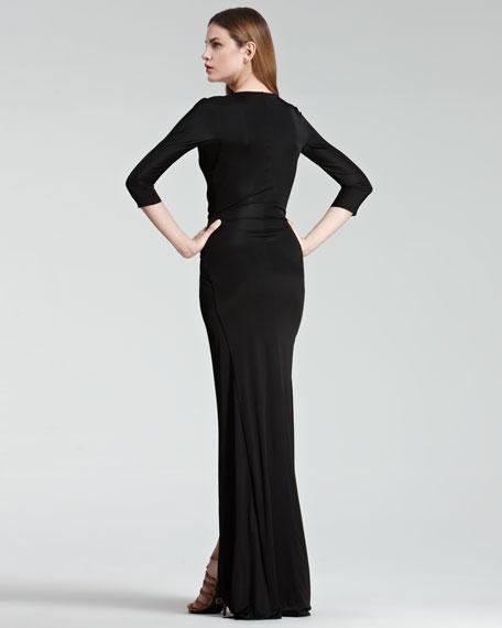 Faux-Wrap Gown, Black