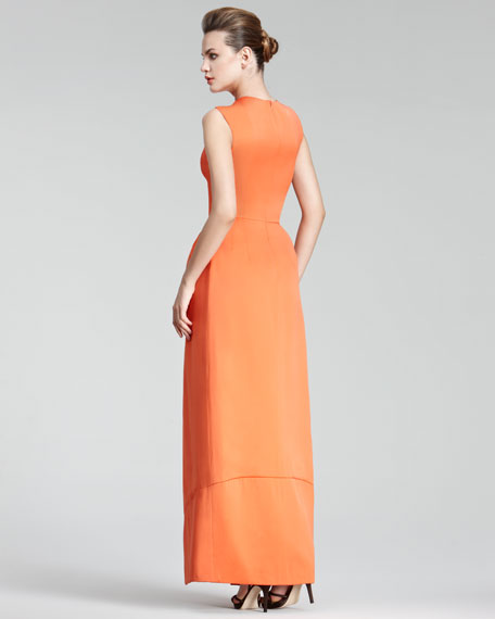 Waterfall-Pleat Gown