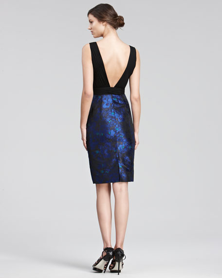 Jacquard-Skirt Cocktail Dress