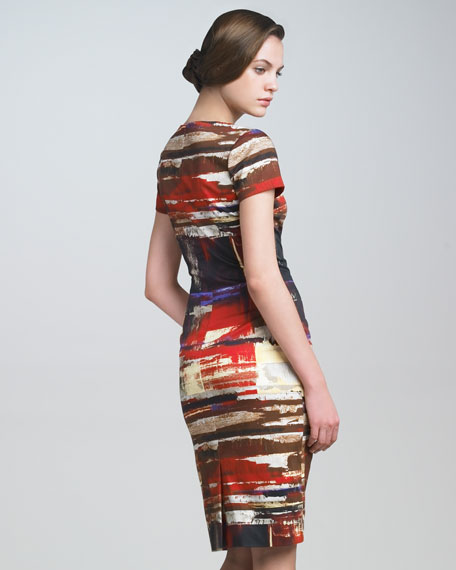 Brushstroke-Print Twill Dress
