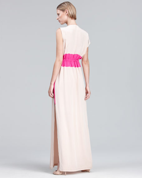 Colorblock-Waist Gown