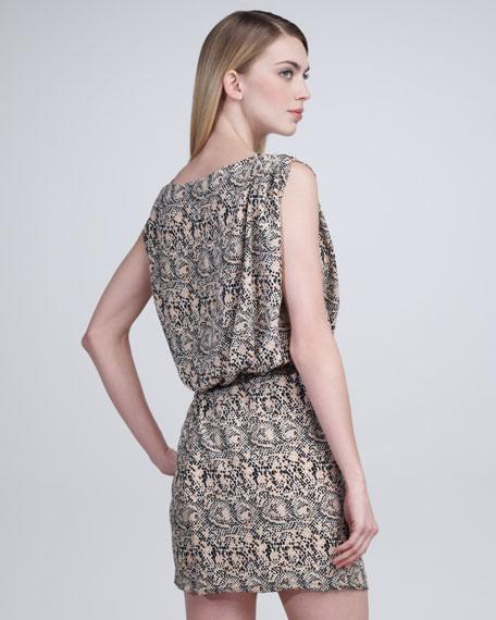 Mosaic Snake-Print Blouson Dress