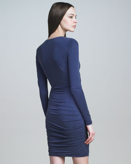 Ruched Sueded Jersey Dress