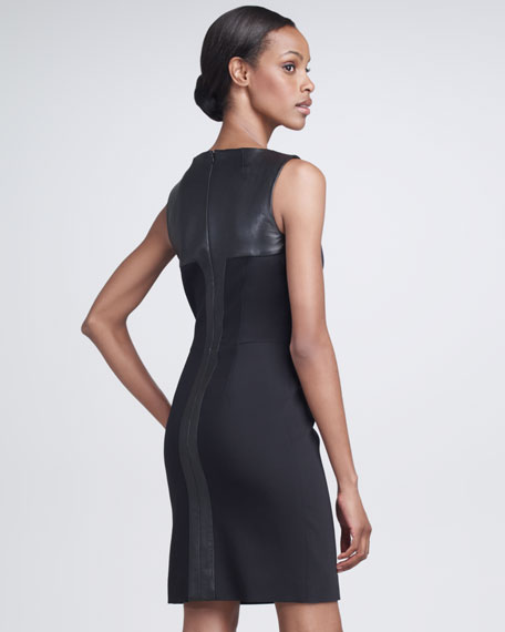 Leather-Inset Dress