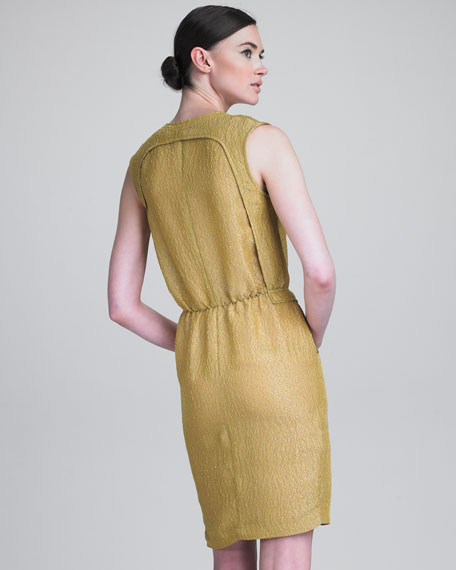 Textured Gauze V-Neck Sheath