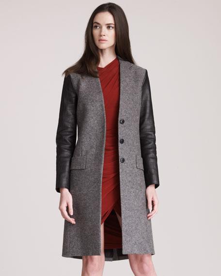 Leather-Sleeve Coat