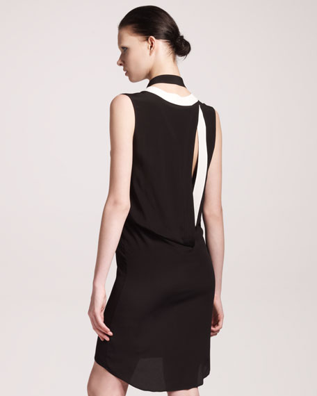 Contrast-Trim Open-Back Dress