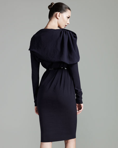 Draped Long-Sleeve Dress