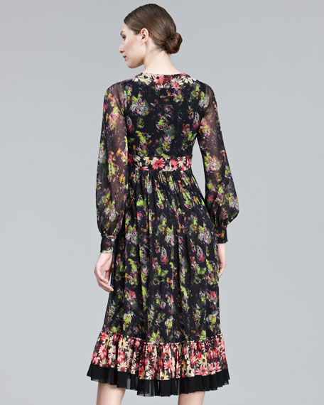 Mixed-Print Long-Sleeve Dress
