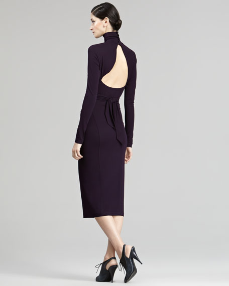 Open-Back Turtleneck Dress