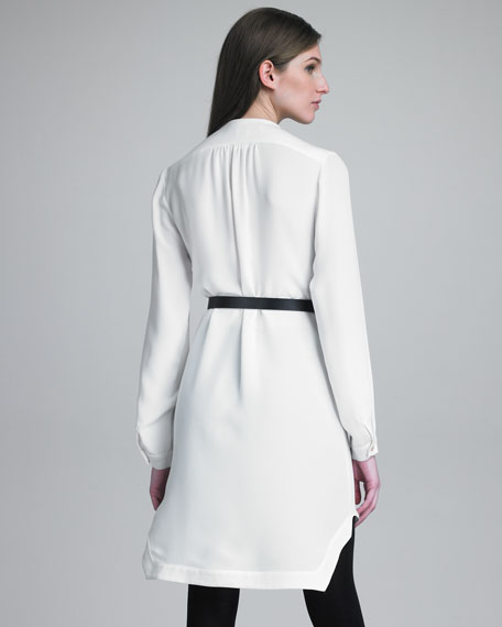 Pleat-Panel Belted Dress