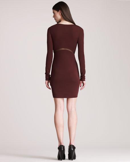 Mesh-Inset Jersey Dress