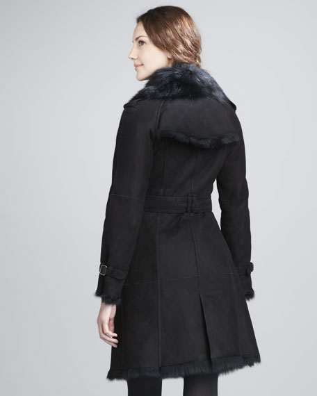 Long Shearling Trenchcoat