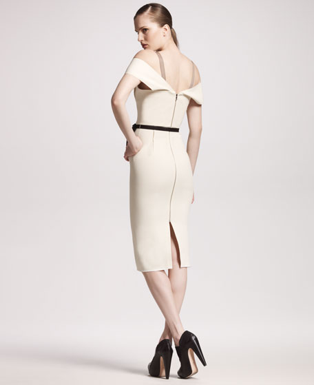 Herbert Stretch-Crepe Dress, Winter White