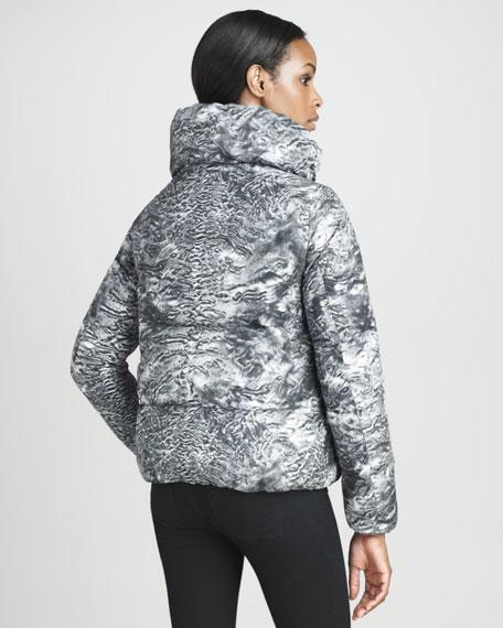 Astrakhan Fur-Print Blouson Puffer Jacket