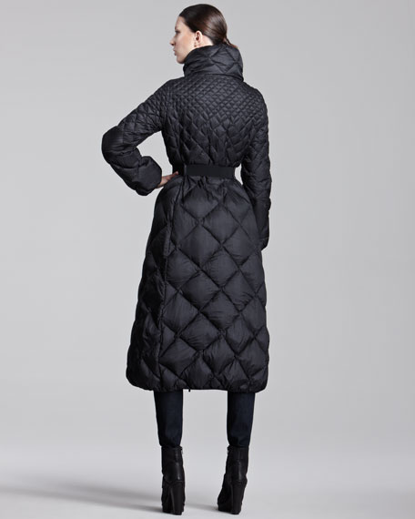 Long Diamond-Quilted Belted Puffer Coat