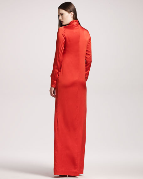 Slit-Front Satin Gown