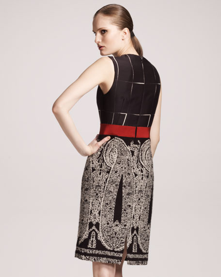 Paisley-Skirt Sheath Dress