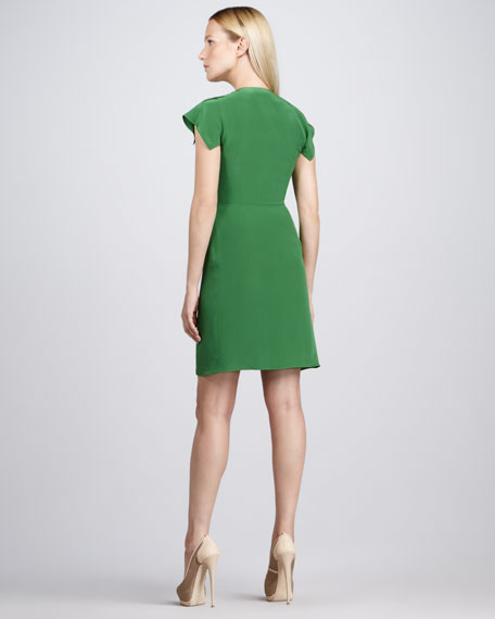 Gathered Crepe De Chine Dress, Emerald