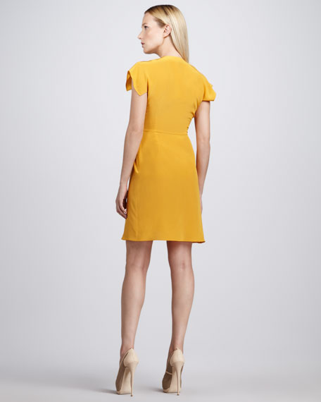 Gathered Crepe de Chine Dress, Sunflower