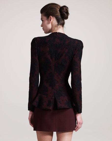 Lace-Overlay Peplum Dress