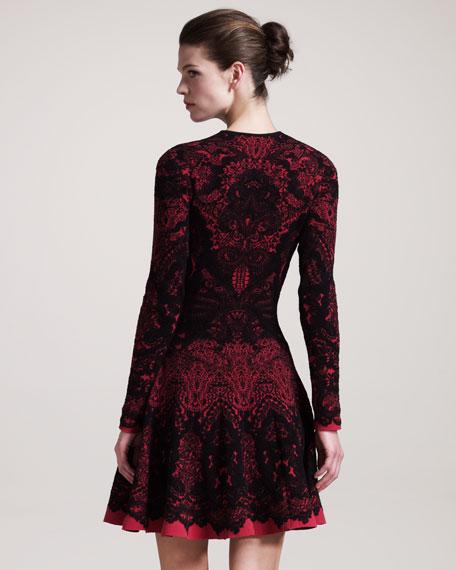 Printed Long-Sleeve Intarsia Dress