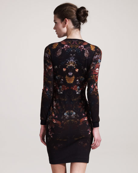 Engineered Floral-Print Intarsia Dress