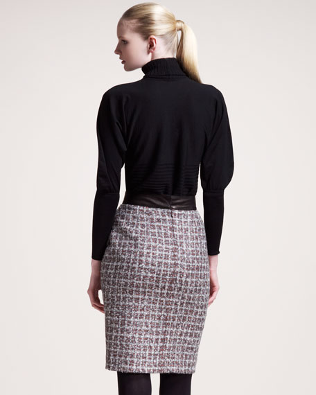 Leather-Waist Tweed Pencil Skirt