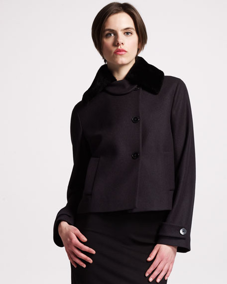 Fur-Collar A-Line Jacket