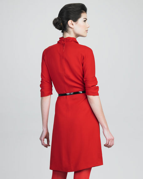 High-Neck Dress With Black Belt
