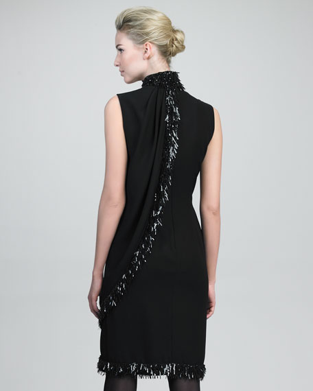 Pailette-Embellished Drape-Back Dress